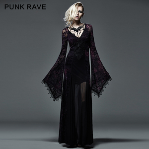 Sexy women long sleeve purple slinky long dress Gothic formal dresses