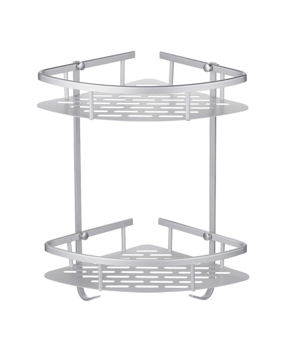 CRW Shower Corner Caddy 2-Tier Bathroom Storage Basket Shelf Anti-rust Wall Mounted Space Aluminum Corner Bath Rack with Hooks Drilling CS1511