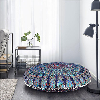 Indian Beautifull Outdoor Cushions Mandala Pillow Pouf Floor Seating Covers With White Pom