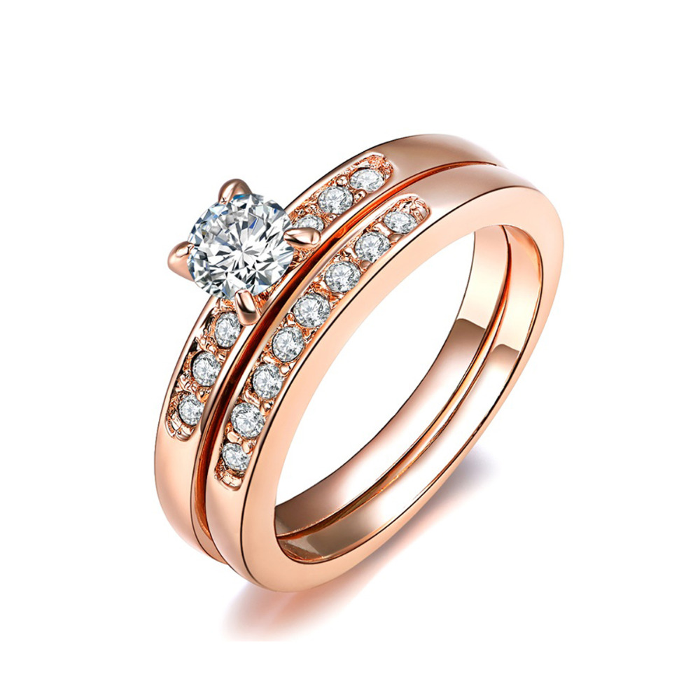 Exclusive Round Real Diamond Studded Wedding Matching Ring In Rose Gold