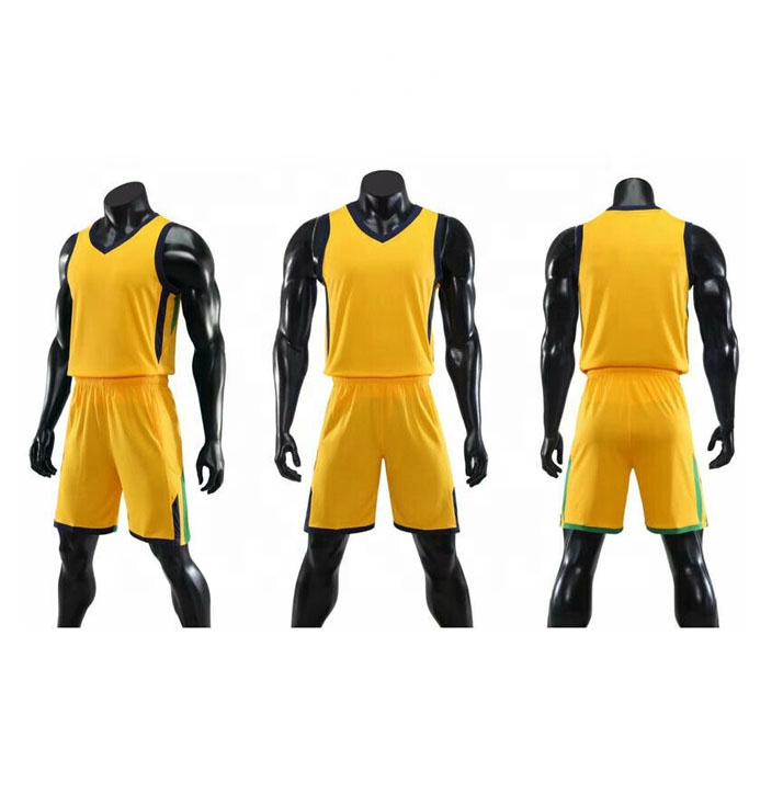 2019 neue design basketball jersey basketball uniform custom basketball uniformen farbe gelb