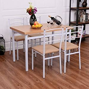 Dining Set with 5 Pieces, Table and 4 Chair, High Back Padded Seat Chairs, Durable Construction, Practical, Ideal for Everyday Meals, Desserts, Kitchen, Restaurant, Practical Furniture
