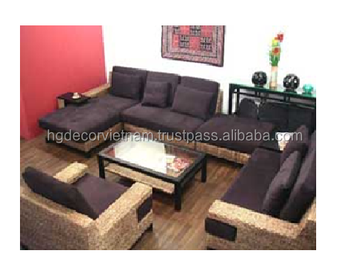 Admirable Elegant Water Hyacinth Sofa Set With Cushion Acacia Fame Ncnpc Chair Design For Home Ncnpcorg