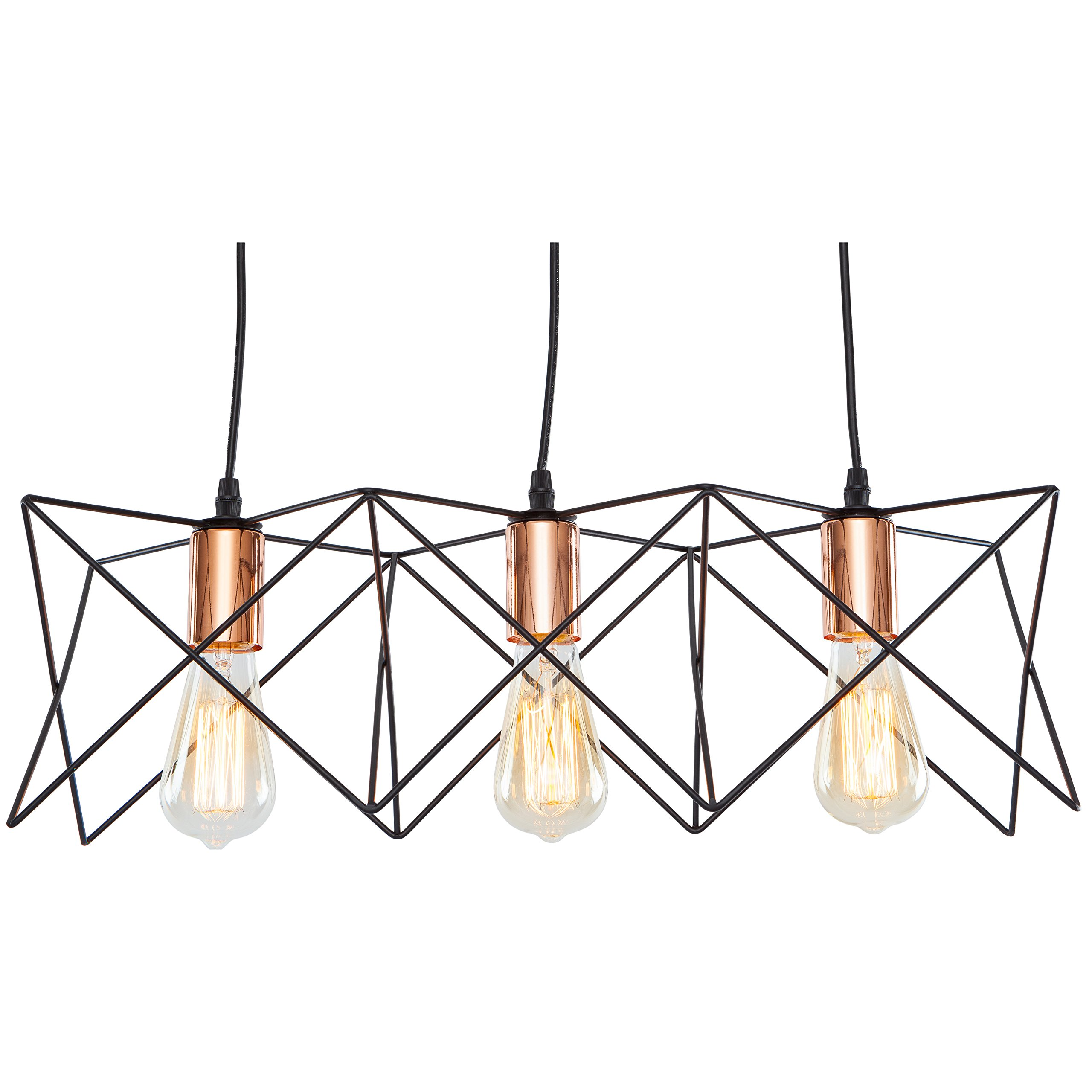 Get Ations Light Society Crampton 3 Geometric Chandelier Pendant Matte Black Shade With Copper Finish
