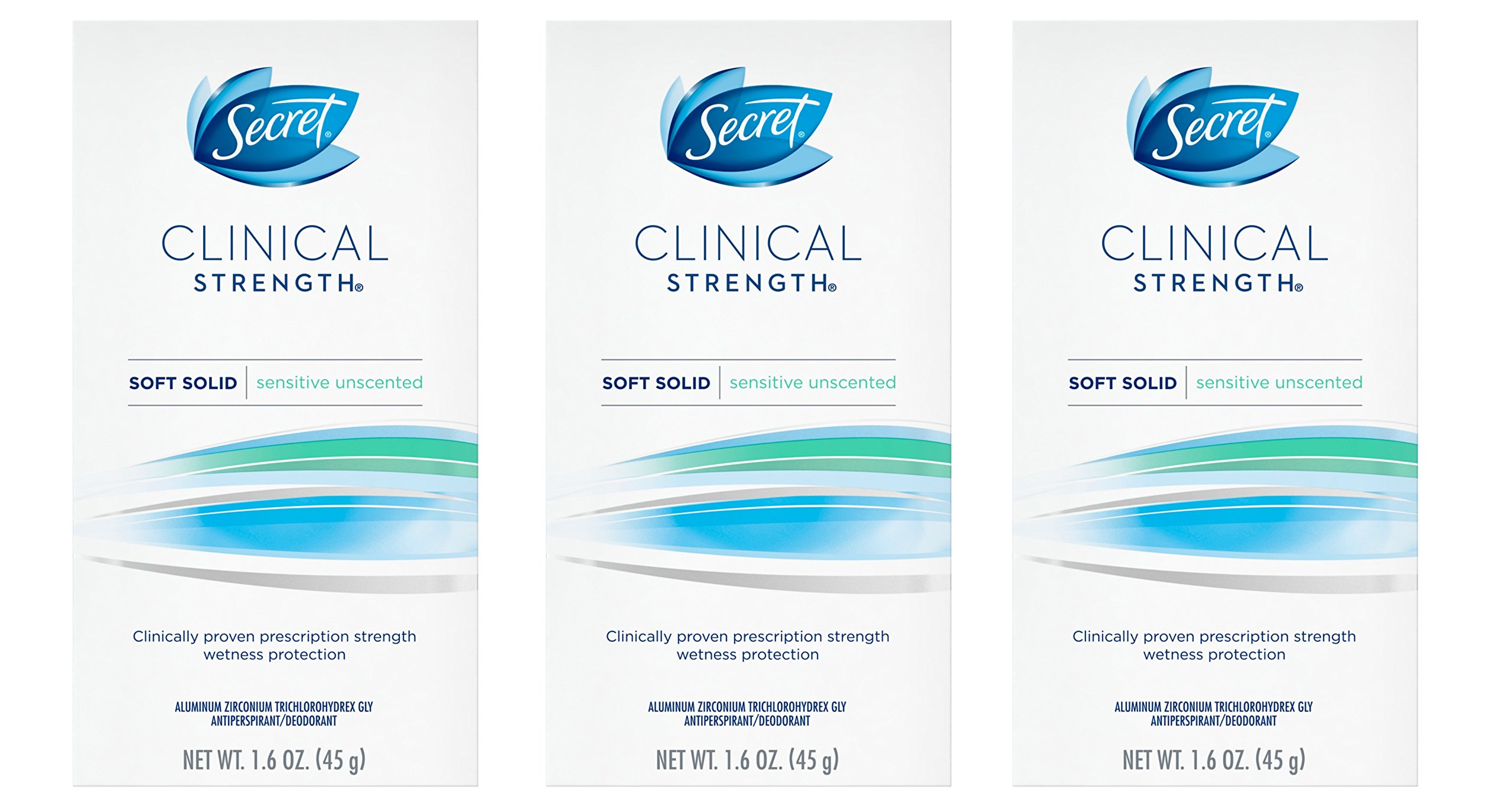 Secret Clinical Strength Deodorant and Antiperspirant for Women, Soft Solid, Sensitive Unscented, 1.6 Oz, (Pack of 3)