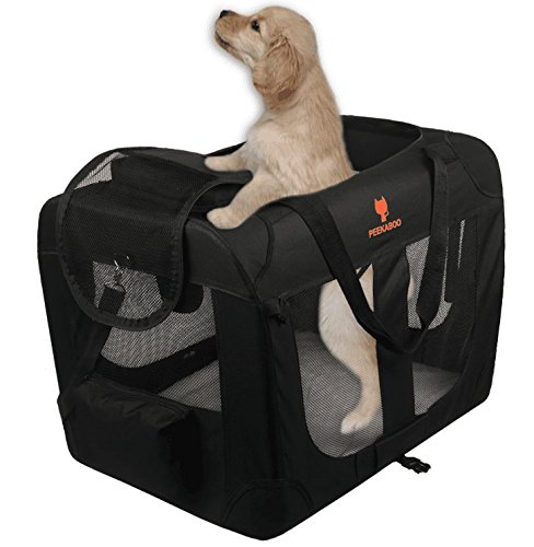 PEEKABOO Dog Crate Soft Pet Carrier Travel Bag Foldable Kennel for Cats Indoor Travel Camping-24 Black