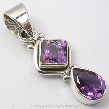"925 Solid Silver Beautiful PURPLE AMETHYST 2 Gem FASHIONABLE Tiny Pendant 1.3"" Banjara Style Cheap Price Jewelry Manufacturer"
