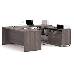"Bestar U-Shaped Desk 71""W X 89""D X 29.75""H Features 1.5"" Commercial Grade Work Surface W/Melamine Finish - Bark Gray"