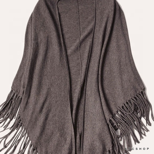 2019 Autumn fashion cashmere knitted plain handmade tassels poncho shawl
