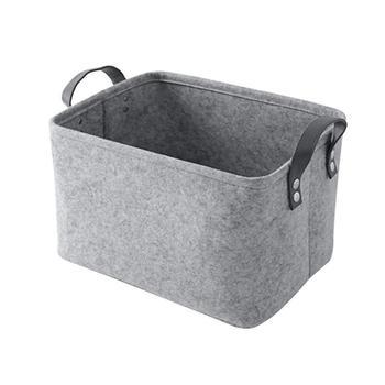 Handmade Grey Collapsible Storage Bin Felt Laundry Storage Basket With PU  Leather Handles