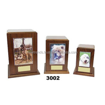Wooden urn with photo frame