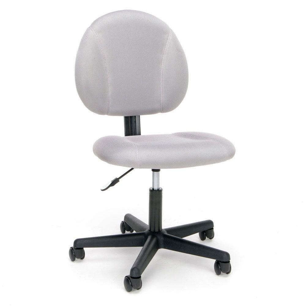 "Essentials Armless Mesh Fabric Task Chair Dimensions: 22.50""W x 22.75""D x 34""H Seat Dimensions: 18""Wx18.75""Dx17-21.75""H Gray Fabric Mesh/Black Base"