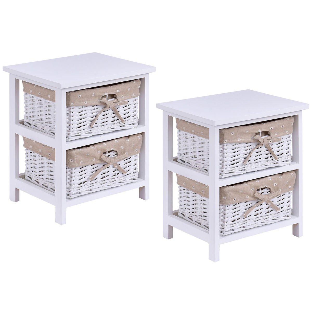 Giantex Set Of 2 Wooden Bedside Table Cabinet Bedroom Furniture W/ 2 Wicker Rattan Drawers