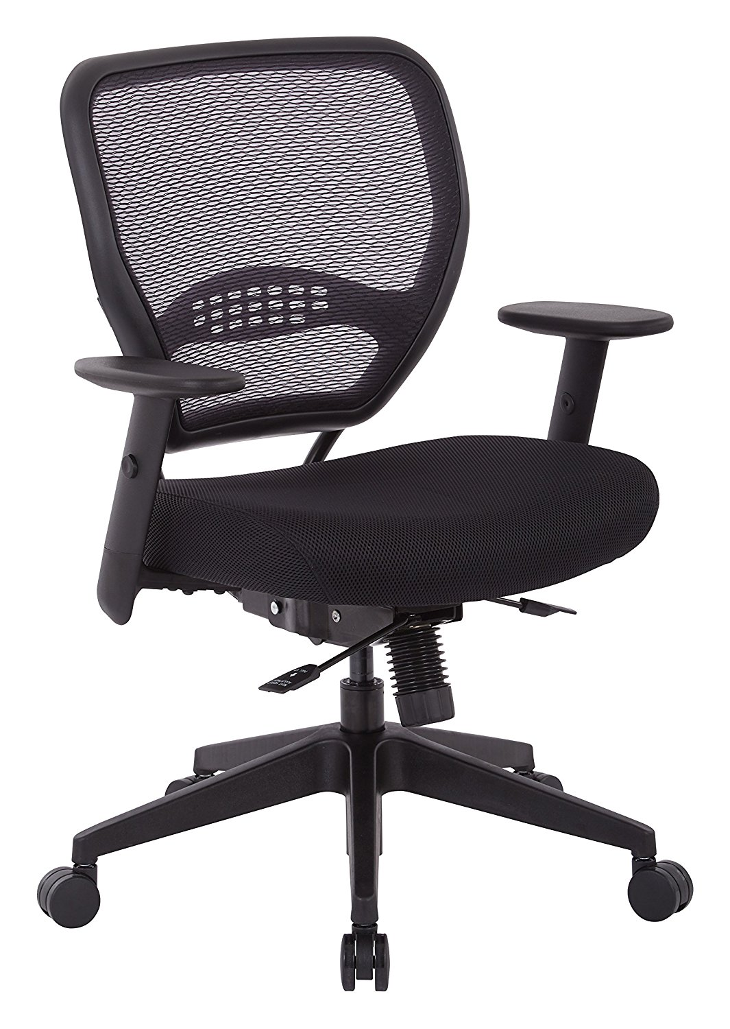 SPACE Seating AirGrid Back and Padded Mesh Seat, 2-to-1 Synchro Tilt Control, Adjustable Arms, Nylon Base Adjustable Managers Chair, Black