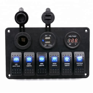 6 Gang waterproof Car Auto Boat Marine Switch Panel With Voltmeter Dual USB Blue LED Light 5 pin On/Off Rocker Switch