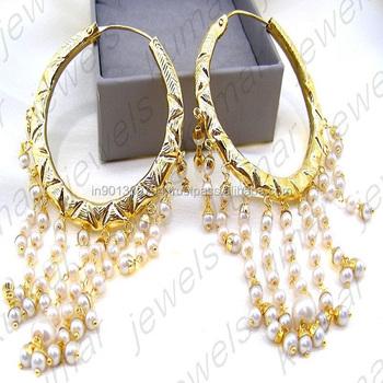 Round Pearl Beaded Indian Golden Jadau Traditional Hanging Chandelier Hoop Earrings