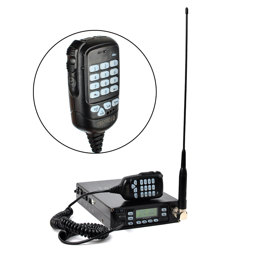 TWAYRDIO Dual Band UHF/VHF 25W Mobile Transceiver Backpack Radio Built-in 12000mAh Li-ion Battery Portable Amateur Radio Station with Dual PTT MIC free Programming Cable