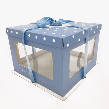 Meilun custom design and size food grade clear transparent cake box with ribbon