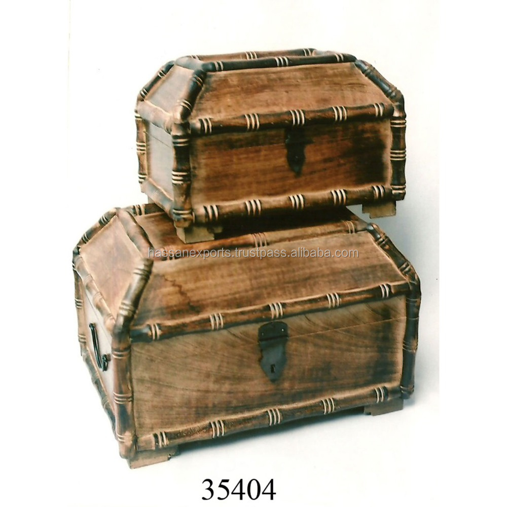 Antique Wooden Treasure Chest Box