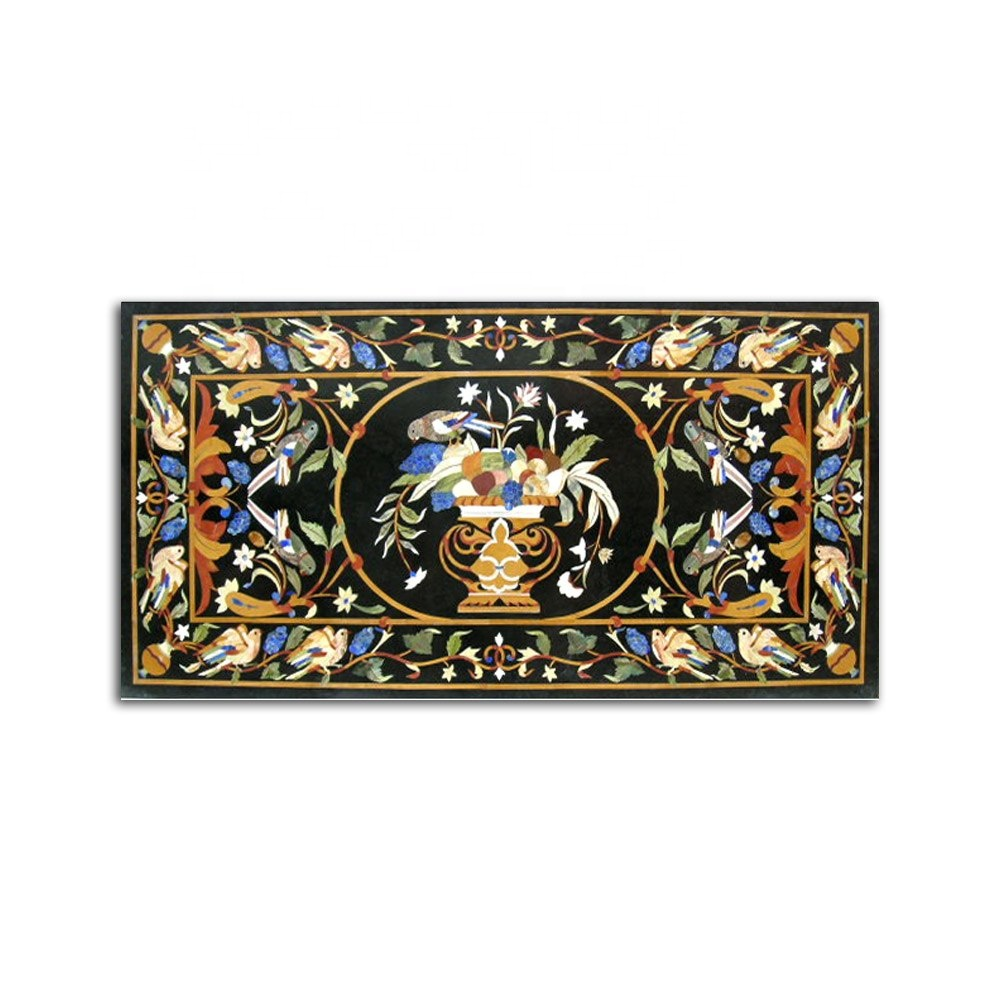 Other Antique Decorative Arts Pietra Dura White Marble Floral Inlaid Table Top Decorative Arts