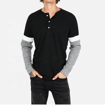 Men's long sleeve Henley t shirt with color block sleeves