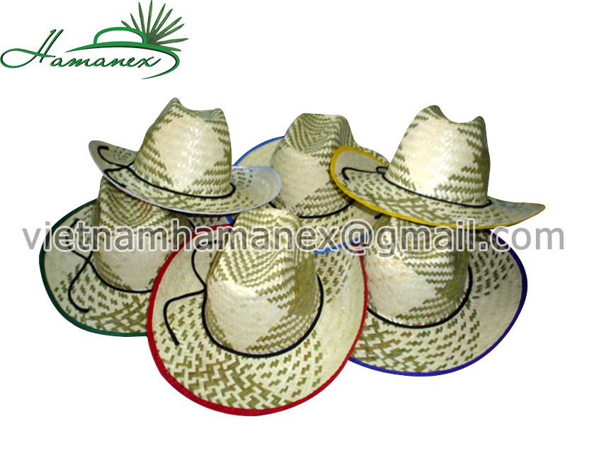 Mixed Palm Leaf and Seagrass Cowboy Hats with Competitive Price (Straw Hat)