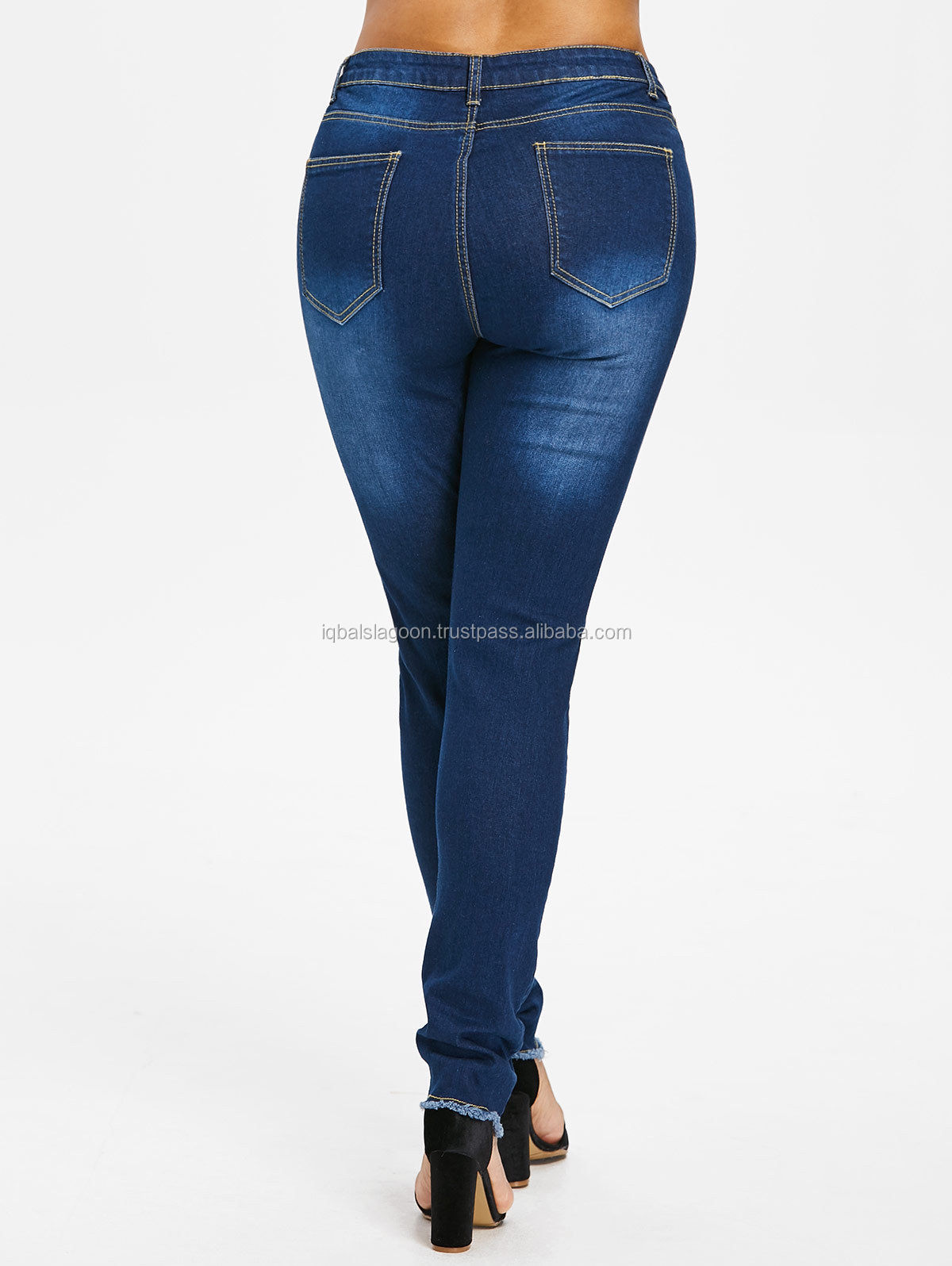 9c20bacaa3a Plus Size Womens Stretch Ripped Frayed Ladies High Waist Denim Pants Jeans
