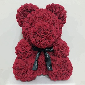 40cm Premium Quality Romantic Gifts Rose Bear Valentine Foam Rose Bear