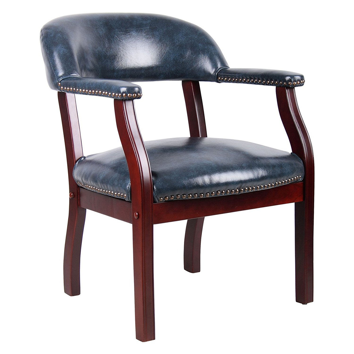 Executive Captain's Chair in Vinyl, Curved Back Legs, Office Furniture, Office Chair, Arm Rests, Sturdy COnstruction, Wood Finish, Bundle with Expert Guide for Better Life