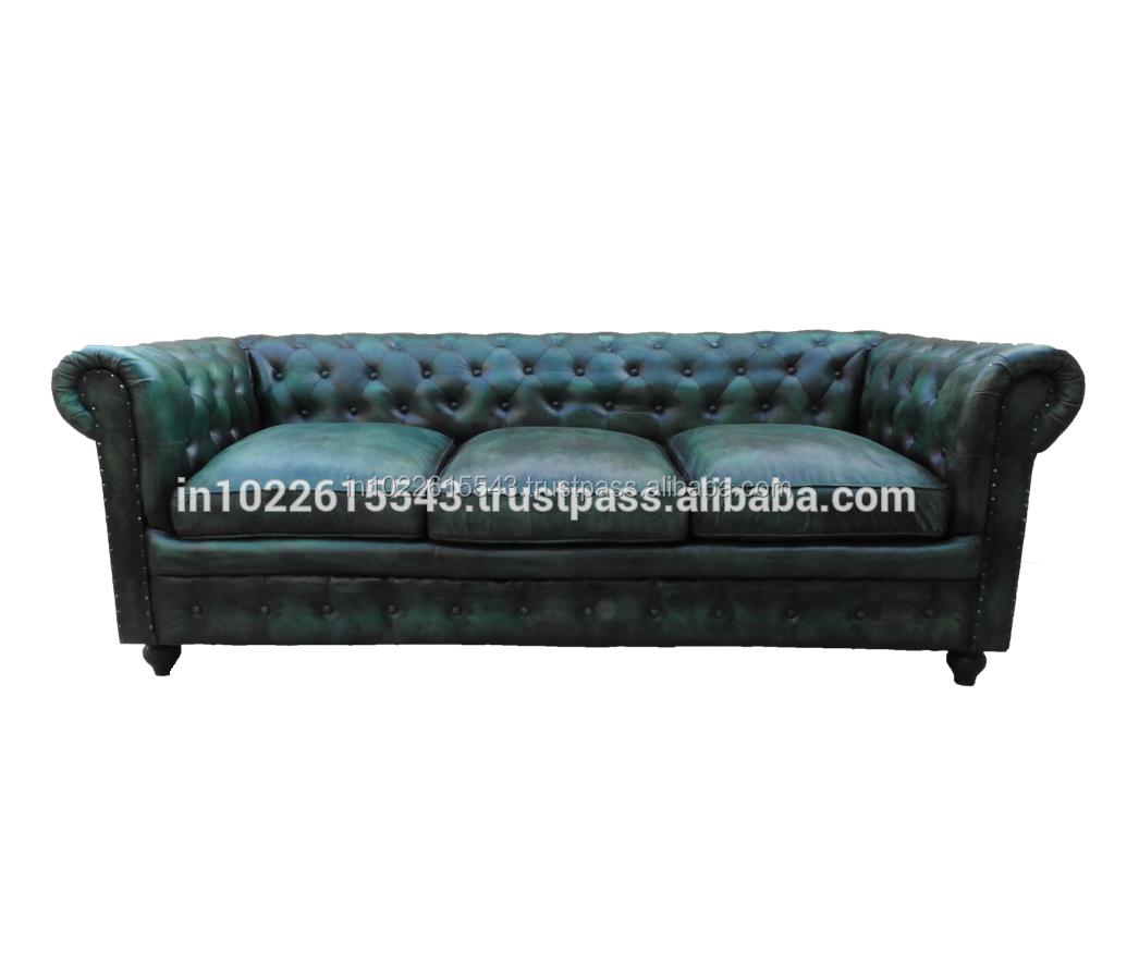 Vintage Kulit Chesterfield Sofa Antique