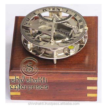Nautical Brass Sundial Compass With Box
