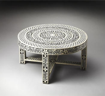 ME CFTL 007 Bone Inlay Round Coffee Table