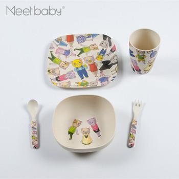 Mb824 Eco Friendly Biodegradable Dishwasher Safe Oem Bamboo Fiber Kids Tableware Melamine Dinnerware Toddler Dinner