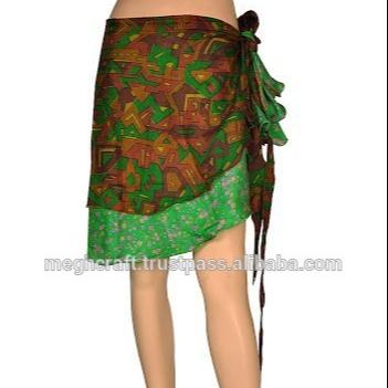 aa3c0a610 Al por mayor diseñador dos capa de seda envolver faldas-magia-faldas-sari  de seda faldas Formal ropa de playa corta faldas
