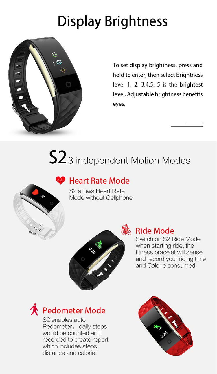 2018 New Trending Product Fitness Wristband Smart Tracker Band S2 Activity Bracelet With Dynamic Heart Rate Sensor