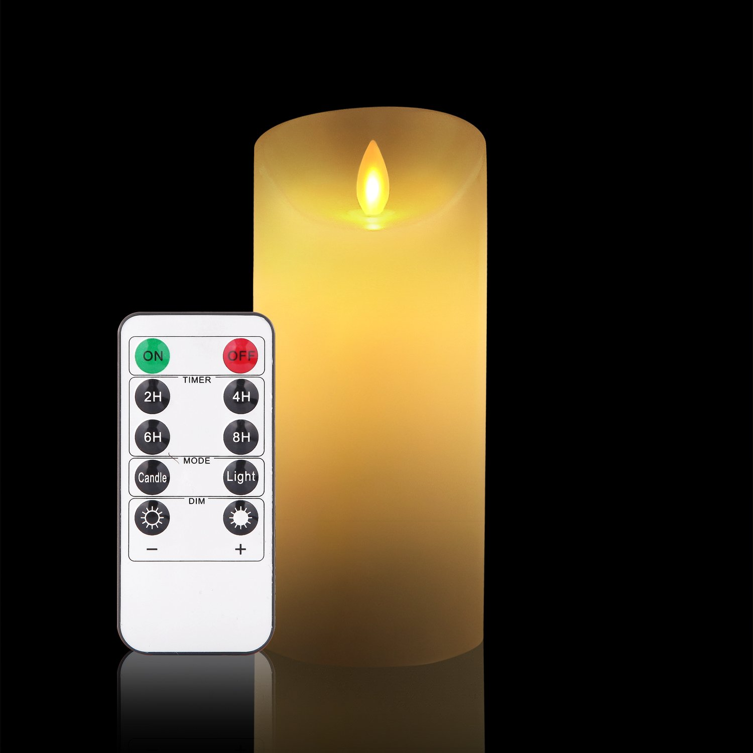 """OShine Flameless Candles,LED Candles 6"""" H(3.15"""" D) Flickering flame with Remote and Timer Real Wax Pillar   Bathroom, Kitchen, Home Decoration   10-Key Control   Reusable,Ivory (11)"""