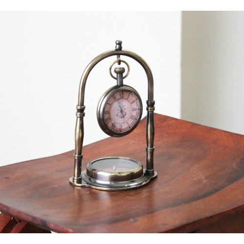 Nautical Collectible Desk Top Table Clock Hanging in Compass Base Brass Stand