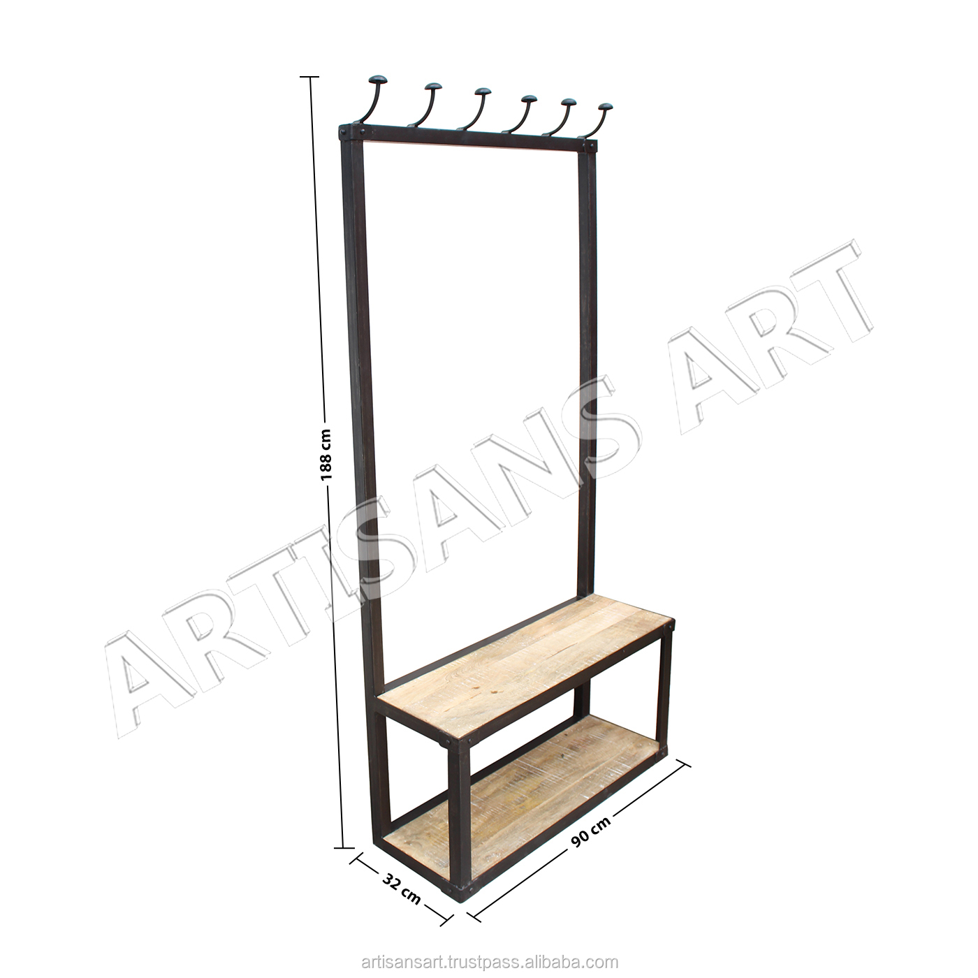 Modern Industrial Metal Wood Cloth Hanger, Rustic White washed wood iron coat hanger, Hangers & Racks Supplier
