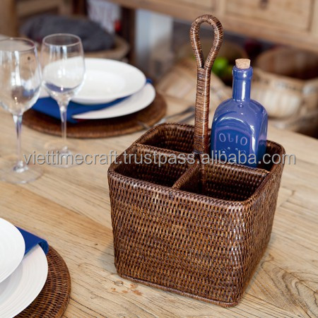 Condiment caddy made from natural rattan/ product made in Vietnam