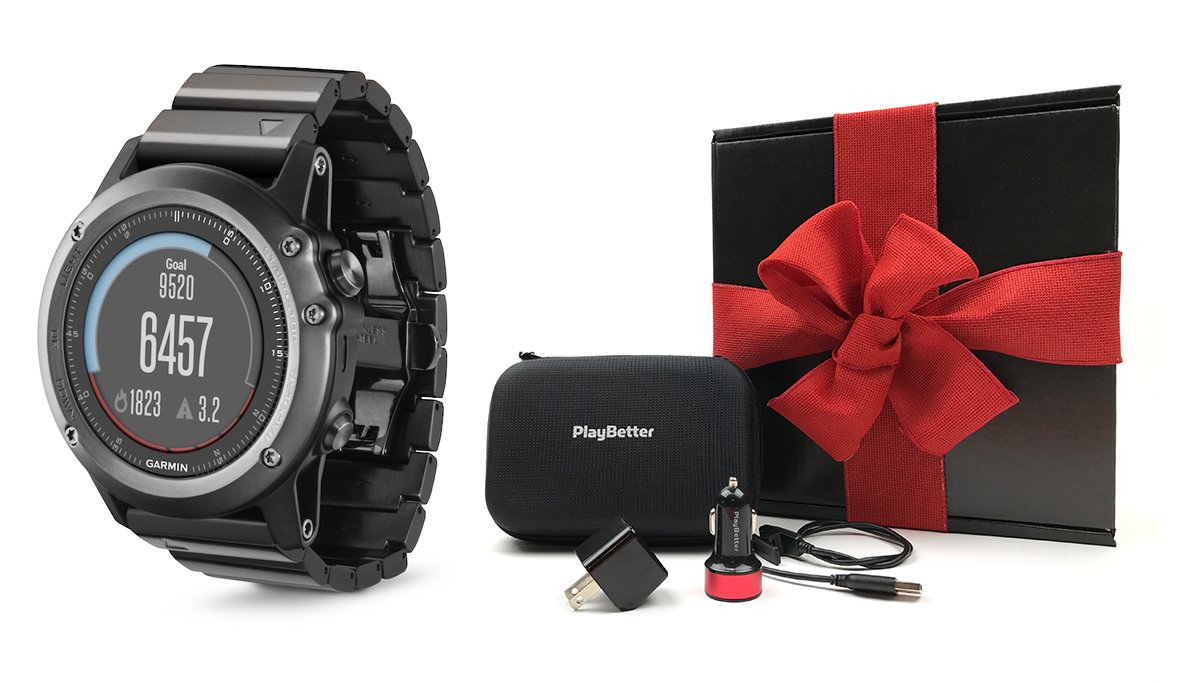 Garmin fenix 3 Sapphire (Metal) GIFT BOX Bundle | Includes Multi-Sport GPS Fitness Watch, PlayBetter USB Car & Wall Adapter, Charging Cable & GPS Carry Case | Black Gift Box, Red Bow & Crinkle Paper