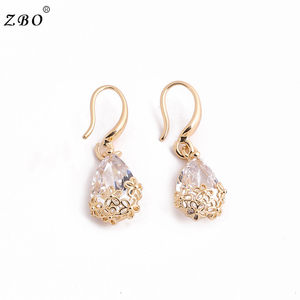 Korea Fashion Zircon 925 Silver Plated Exquisite Flower Hollow Out Earrings