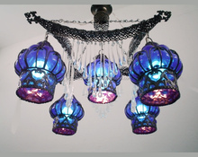 B68 Large Mouth-blown Blue Glass Wrought Iron Chandelier