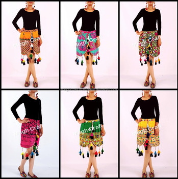 1e9f2f83a6 Indo Western Latest Fashion Banjara Skirt With Tassel Fringes - Ethnic  Indian Vintage Fabric Skirt