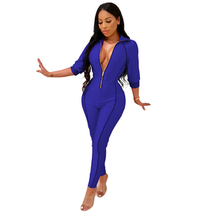 Long Sleeve turn-down collar front zipper Deep V sexy party Jumpsuit for women
