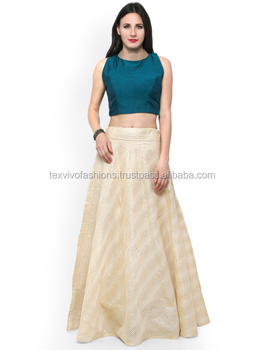 15862700e7 Skirt And Crop Top( Lehenga Style With Plain Designer Top) - Buy ...