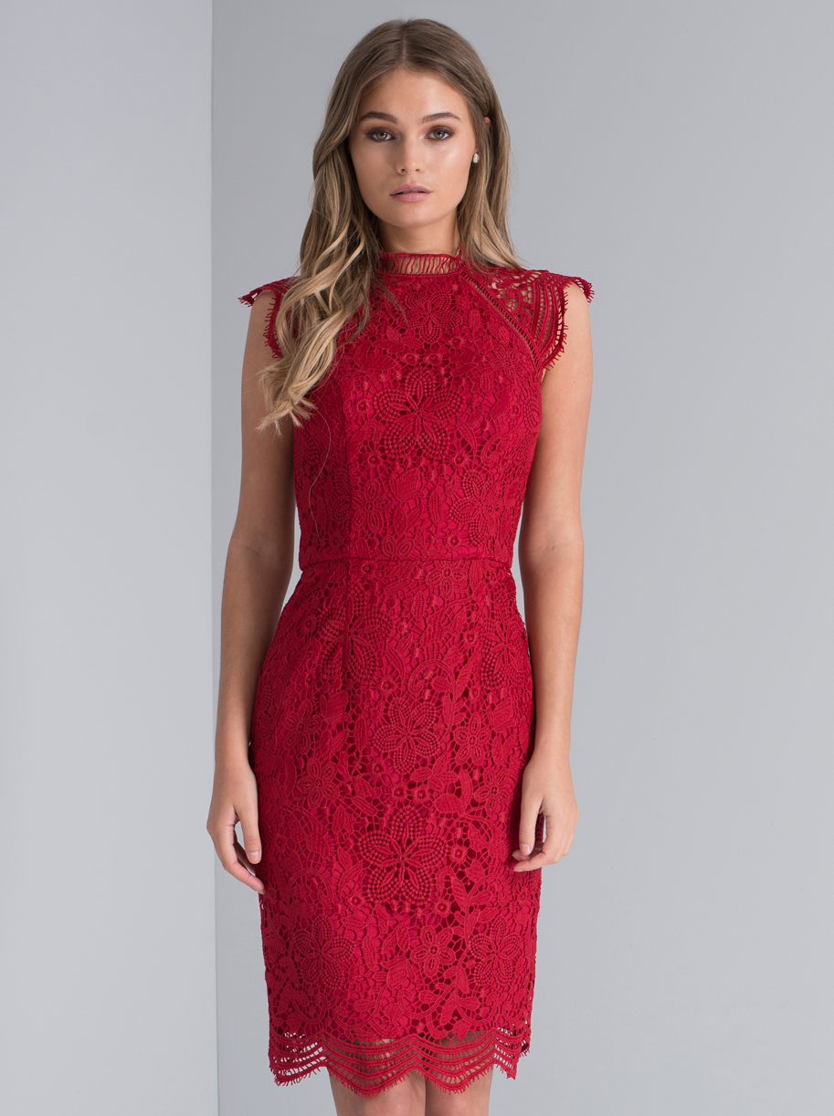 2017 newest design red lace sexy dress for women Christmas holiday