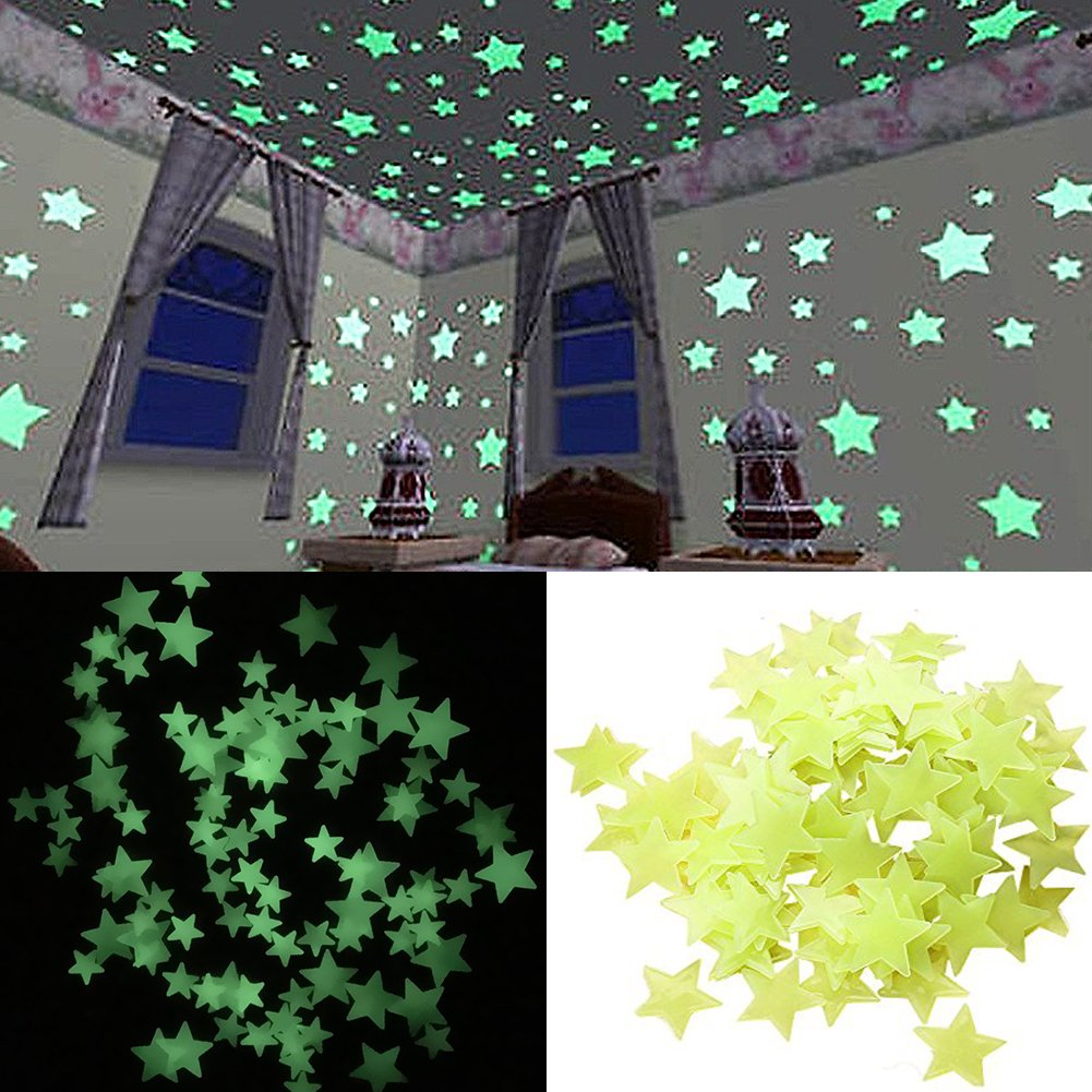 9a667422ef07 Get Quotations · Pack of 100 pcs Glow in the Dark Star Stickers Decal-  Luminous Wall Decal Stickers