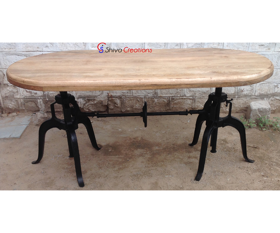 Industrial Vintage Adjustable Crank Dining Table