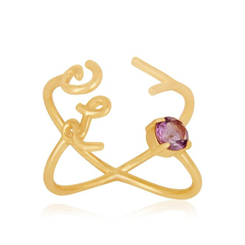 925 Sterling Silver Love Collection Gold Plated Elegant Design Stone Cocktail Ring for Valentines