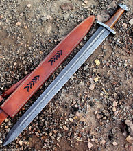 Custom Hand made Damascus Steel Sword With Rose wood And Damascus Bolsters SK-175